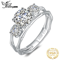 JewelryPalace 3 Stone Bamboo Bone Style Split Shank 2ct Cubic Zirconia Engagement Ring 925 Sterling Silver Rings for Women Gifts - Slabiti