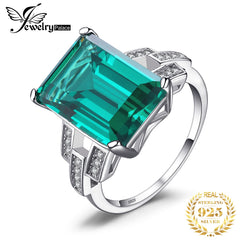 JewelryPalace 5.9ct Created Nano Emerald Ring 925 Sterling Silver Rings for Women Engagement Ring Silver 925 Gemstones Jewelry - Slabiti