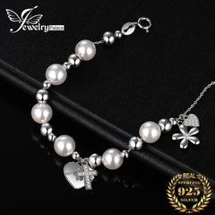 JewelryPalace 7mm Simulated Shell Pearl Angel Flower Cross Bangle Bracelet 925 Sterling Silver Bracelet For Baby Jewelry Making - Slabiti