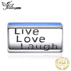 JewelryPalace 925 Sterling Silver Blue Enamel Live Love Laugh Charm Beads Fit Bracelets Fine Jewelry As Beautiful Gifts New Hot - Slabiti