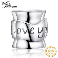 JewelryPalace 925 Sterling Silver Engraved I Love You Charm Beads Fit Bracelets For You Mother And Dad As Beautiful Gifts - Slabiti