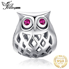 JewelryPalace 925 Sterling Silver Owl Beads Charms Silver 925 Original For Bracelet Silver 925 original Beads For Jewelry Making - Slabiti