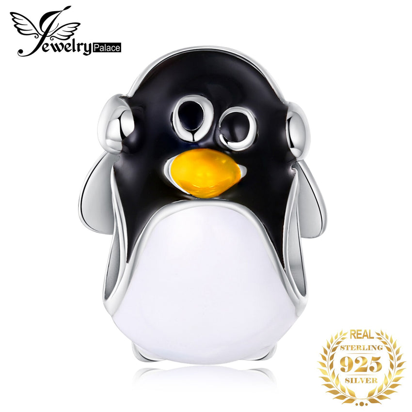 JewelryPalace 925 Sterling Silver Penguin Beads Charms Silver 925 Original Fit Bracelet Silver 925 original Beads Jewelry Making - Slabiti