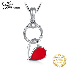 JewelryPalace 925 Sterling Silver Red Enamel Hollow Heart Dangle Circle Pendant Not Include A Chain - Slabiti