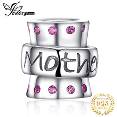 JewelryPalace 925 Sterling Silver Warm Embrace Created Ruby Engraved Mom Charm Beads Fit Bracelets New Hot Sale For Family - Slabiti