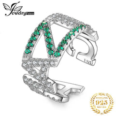 JewelryPalace AMAZING Nano Simulated Emerald Ring 925 Sterling Silver Rings for Women Party Stackable Ring Silver 925 Jewelry - Slabiti