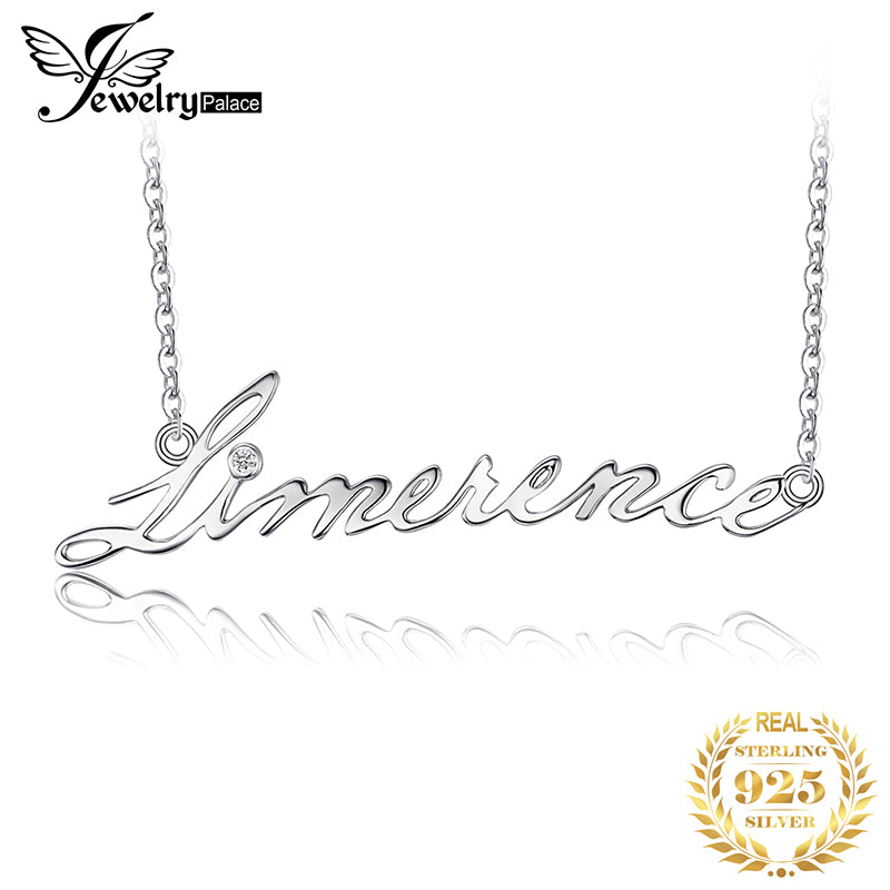 JewelryPalace Alphabet Words Limerence Goodluck Necklace With 18 Inches Chain Cubic Zirconia 925 New Fine Jewelry For Women - Slabiti