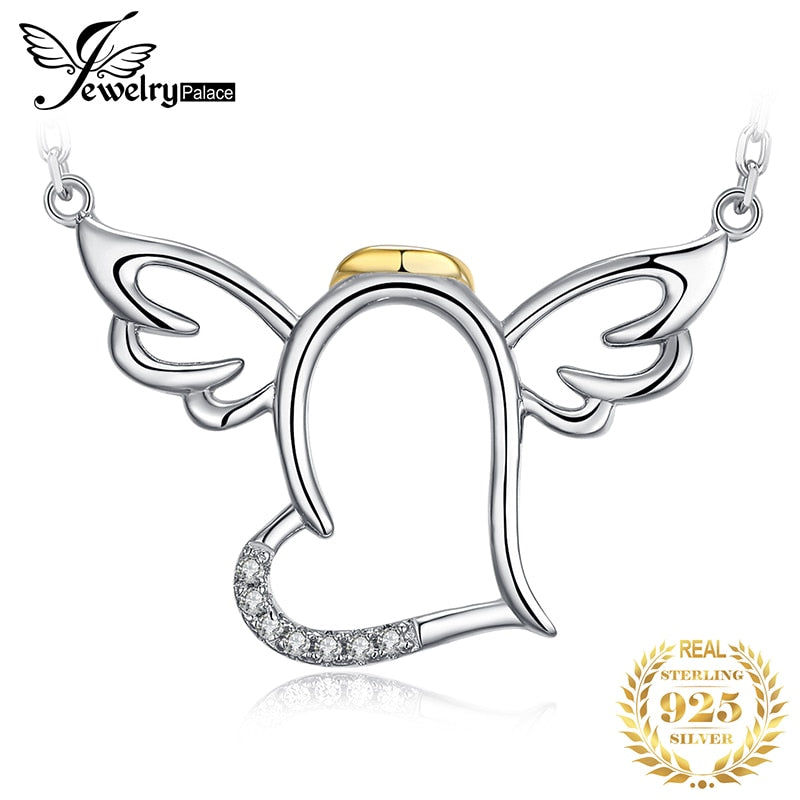 JewelryPalace Angel Wings Heart Silver Pendant Necklace 925 Sterling Silver Chain Choker Statement Collar Necklace Women 45cm - Slabiti