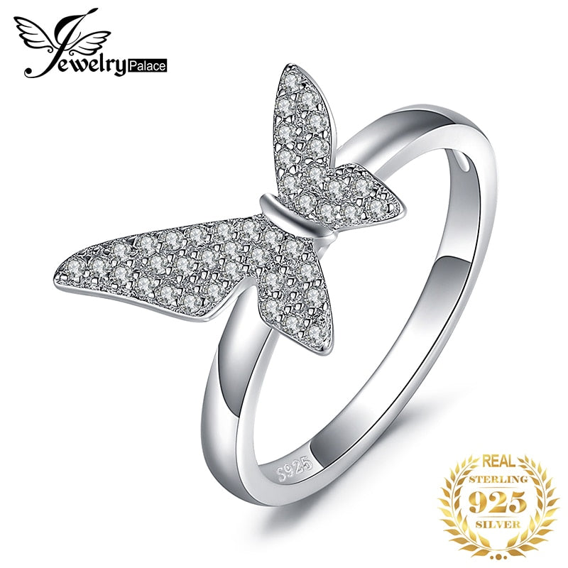 JewelryPalace Asymmetry Geometric Butterfly Cubic Zirconia Promise Ring 925 Sterling Silver Rings For Women Gifts Fine Jewelry - Slabiti