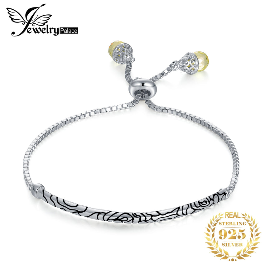 JewelryPalace Ball End Auspicious Cloud Engraved 925 Sterling Silver Yellow Pear Shape CZ Adjustable Bangle Bracelet For Women - Slabiti