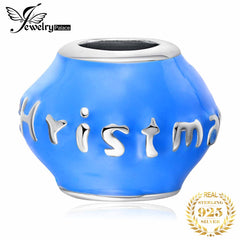 JewelryPalace Blue Enamel Merry Christmas Beads Charm 925 Sterling Silver Blue Paint Charms, DIY Jewelry  Character - Slabiti