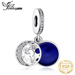 JewelryPalace Blue Moon Star 925 Sterling Silver Bead Charms Silver 925 Original For Bracelet Silver 925 original Jewelry Making - Slabiti
