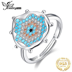 JewelryPalace Bohemian Boho Simulated Turquoise Ring 925 Sterling Silver Rings for Women Party Cocktail Ring Silver 925 Jewelry - Slabiti