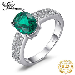 JewelryPalace Bornstone 2.2ct Nano Russian Simulated Emerald Engagement Anniversary Ring For Woman Real 925 Sterling Silver - Slabiti