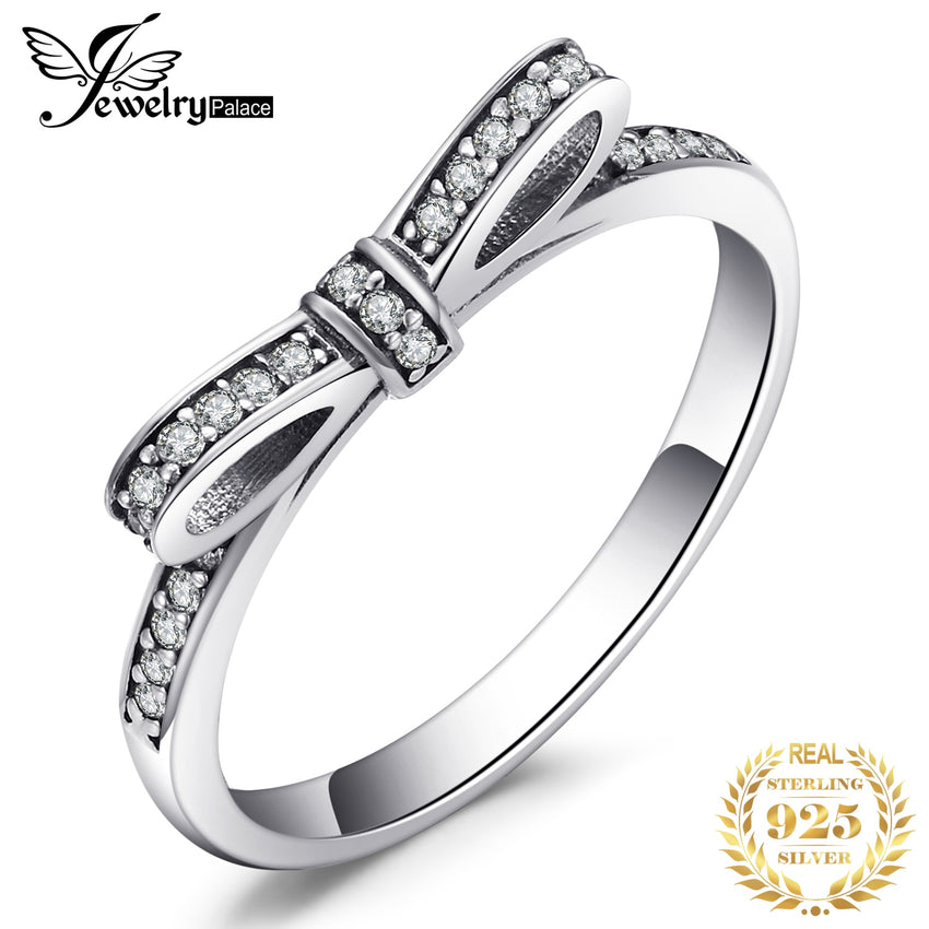 JewelryPalace Bowknot Cubic Zirconia Ring 925 Sterling Silver Rings for Women Stackable Ring Silver 925 Jewelry Fine Jewelry - Slabiti