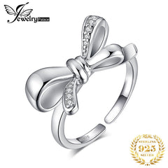 JewelryPalace Bowknot Cubic Zirconia Rings 925 Sterling Silver Rings for Women Stackable Ring Silver 925 Jewelry Fine Jewelry - Slabiti