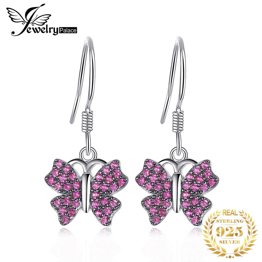 JewelryPalace Butterfly 0.3ct Created Ruby Pave Drop Earrings 925 Sterling Silver Fine Jewelry hot selling earrings gift - Slabiti