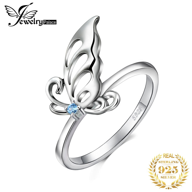 JewelryPalace Butterfly Created Light Blue Spinel Statement Ring 925 Sterling Silve Ring for Women Jewelry Gemstone Fashion Gift - Slabiti