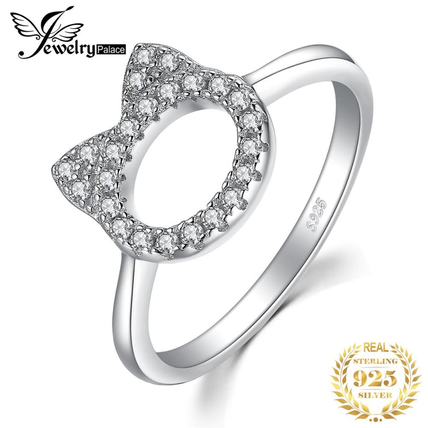 JewelryPalace Cat Face Pet Love Cubic Zirconia Ring 925 Sterling Silver Gift For Woman&Girls 2018 Hot Selling Personal - Slabiti