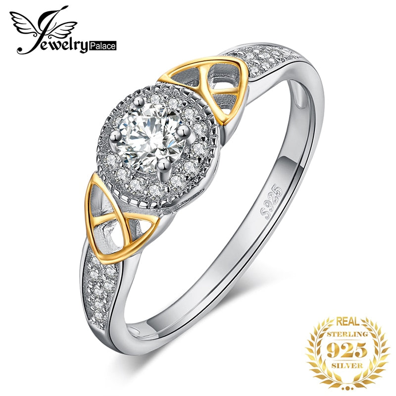 JewelryPalace Celtic Knot Halo Engagement Ring Rose Gold 925 Sterling Silver Rings for Women Wedding Rings Silver 925 Jewelry - Slabiti