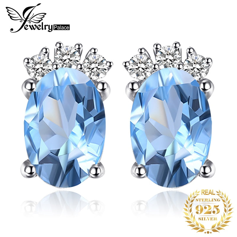 JewelryPalace Classic 1ct Oval Natural Sky Blue Topaz Stud Earrings Solid 925 Sterling Silver Fine Jewelry For Women Accessories - Slabiti