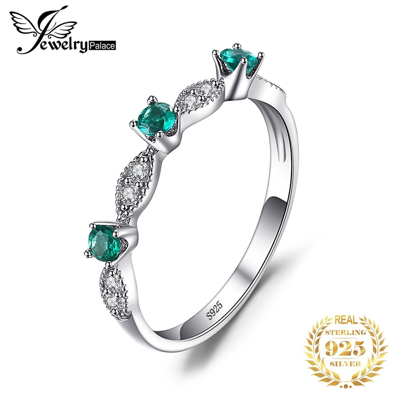 JewelryPalace Created Nano Emerald Ring 925 Sterling Silver Rings for Women Wedding Band Rings Silver 925 Gemstones Fine Jewelry - Slabiti