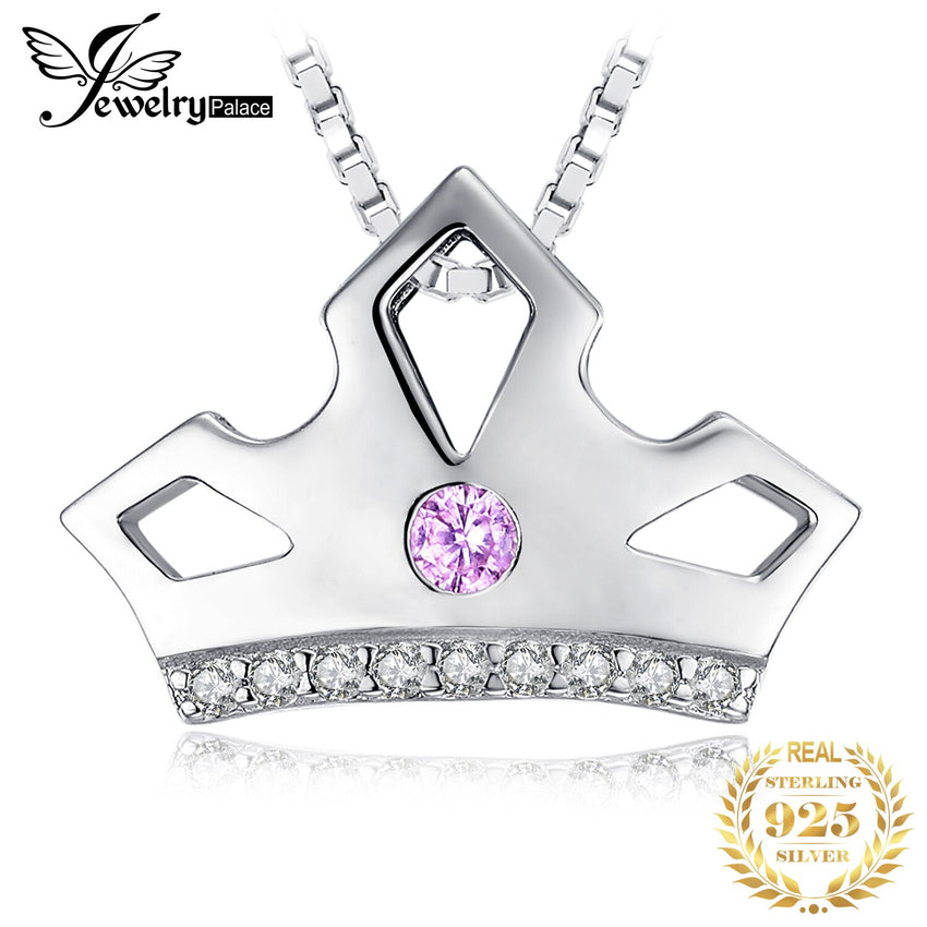 JewelryPalace Created Pink Sapphire Cubic Zirconia Royal Crown Pendant Necklace 925 Sterling Silver Pendants  Without Chain - Slabiti
