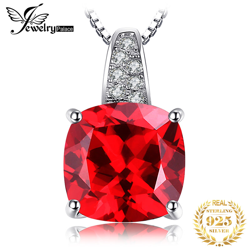 JewelryPalace Created Red Ruby Pendant Necklace 925 Sterling Silver Gemstones Choker Statement Necklace Women Without Chain - Slabiti