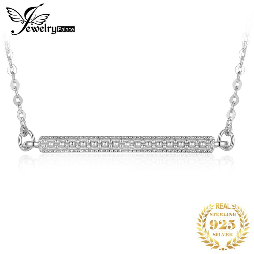 JewelryPalace Cubic Zirconia Bar Collar Necklace 925 Sterling Silver Necklace 18 Inches Cable Chain Jewelry Making Women Fashion - Slabiti