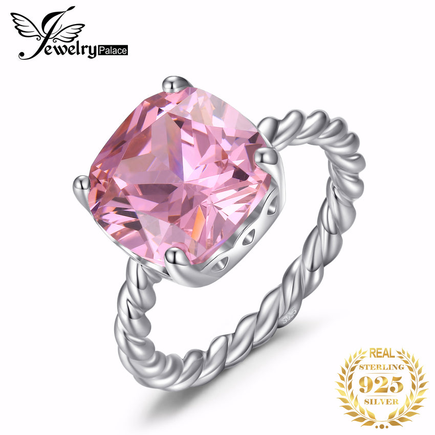 JewelryPalace Cushion Huge Pink CZ Ring 925 Sterling Silver Rings for Women Stack Engagement Ring Silver 925 Gemstones Jewelry - Slabiti