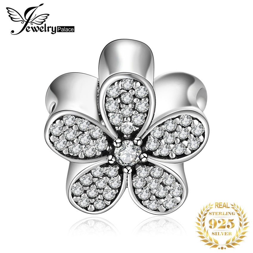 JewelryPalace Daisy Flower 925 Sterling Silver Beads Charms Silver 925 Original For Bracelet Silver 925 original Jewelry Making - Slabiti