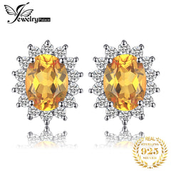 JewelryPalace Diana Genuine Citrine Stud Earrings 925 Sterling Silver Earrings For Women Korean Earings Fashion Jewelry 2019 - Slabiti