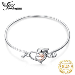 JewelryPalace Dolphin Love Bracelet 925 Sterling Silver Bracelet Bangles Bolo Bracelets For Women Silver 925 Jewelry Making Orga - Slabiti
