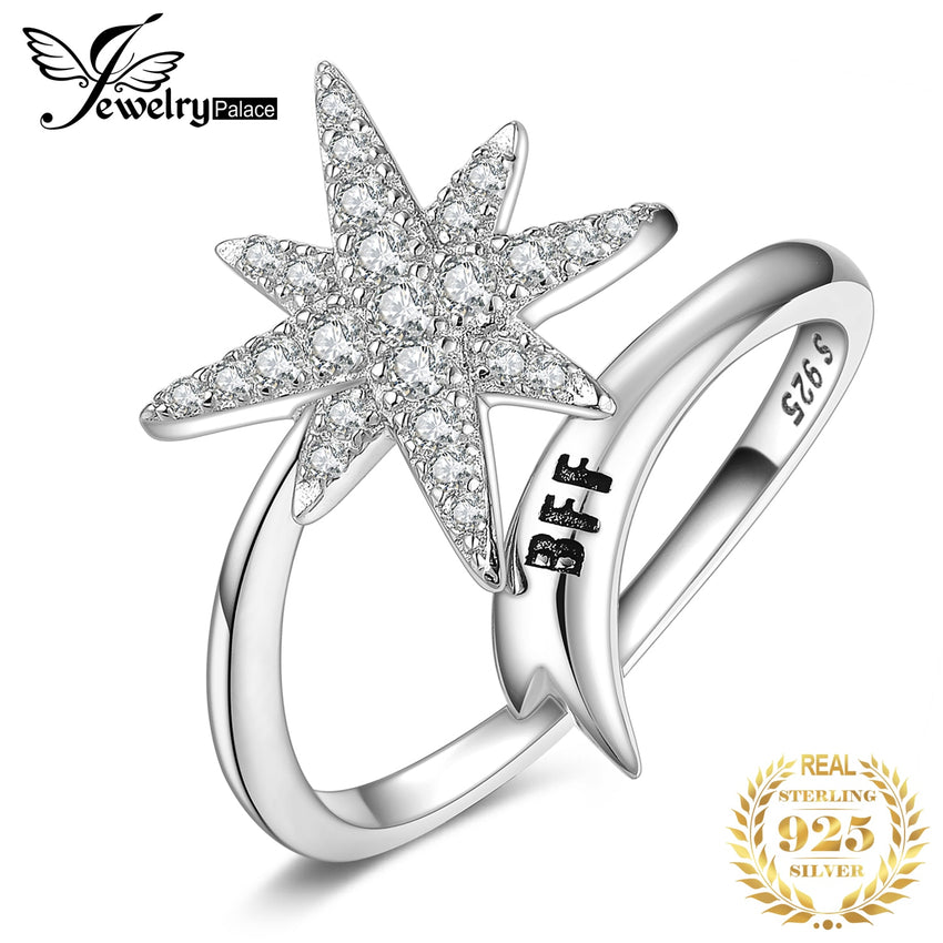 JewelryPalace Engraved  BFF Snowflake Cocktail Ring 925 Sterling Silver Rings for Women Party Stackable Ring Silver 925 Jewelry - Slabiti