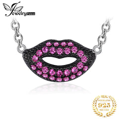 JewelryPalace Fashion Created Ruby Lip Shape Wraparound Necklace For Sex Women Real 925 Sterling Silver Fine Jewelry Style - Slabiti