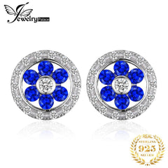 JewelryPalace Flower 0.65ct Created Blue Spinel Round Stud Earrings Genuine 925 Sterling Silver Fashion Woman Party Fine Jewelry - Slabiti
