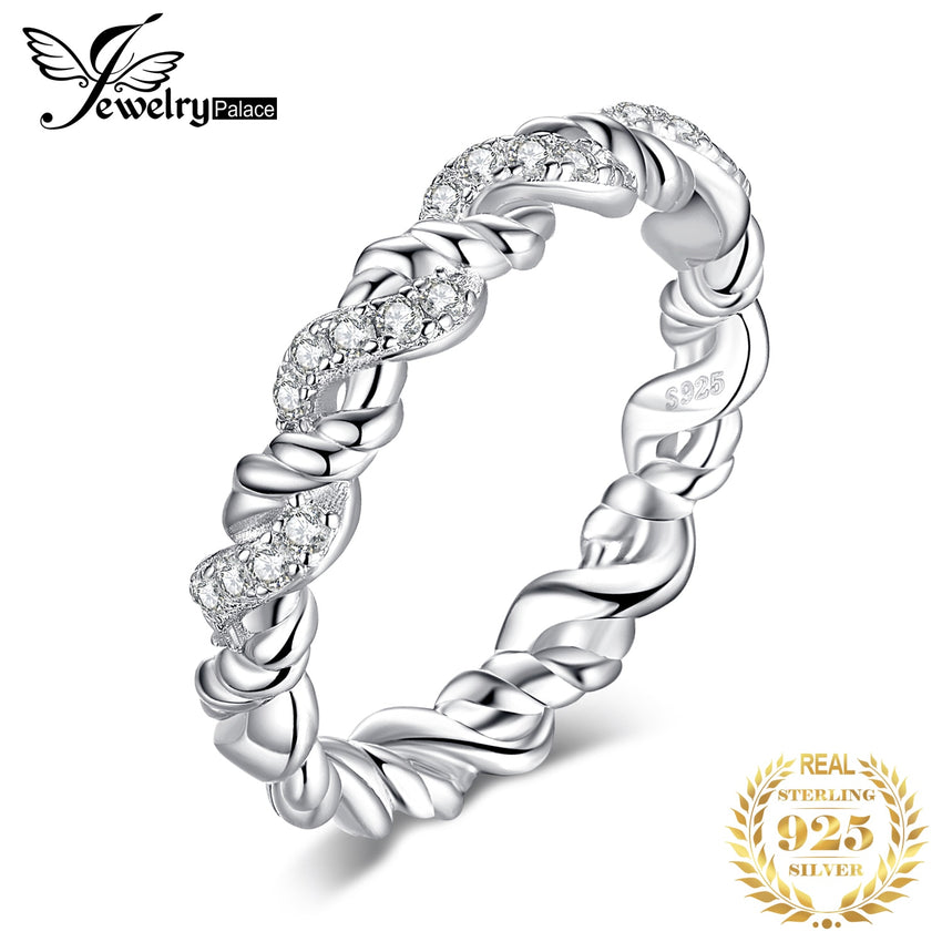 JewelryPalace Flowers Stackable Ring Wedding Band 925 Sterling Silver Rings for Women Jewelry Making Fashion Jewelry Engagement - Slabiti