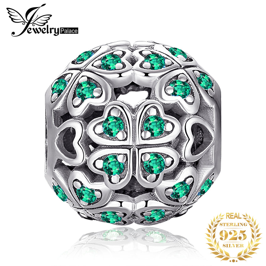 JewelryPalace Four Leaf 925 Sterling Silver Beads Charms Silver 925 Original For Bracelet Silver 925 original For Jewelry Making - Slabiti