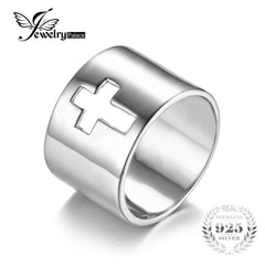 JewelryPalace Genuine 925 Sterling Silver Anniversary Wedding Band Cross Promise Classic Ring New For Women Fine Jewelry - Slabiti