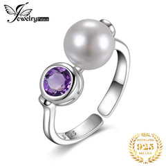 JewelryPalace Genuine Amethyst Shell Pearl Ring 925 Sterling Silver Rings for Women Open Party Stackable Ring Silver 925 Jewelry - Slabiti