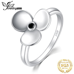 JewelryPalace Genuine Black Spinal Ring 925 Sterling Silver Ring Flower Vintage Elegance Gemstone Women Fashion Jewelry Gifts - Slabiti