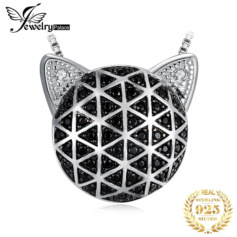 JewelryPalace Genuine Black Spinel Cubic Zirconia Cat Face Pendant Without Chain 925 Sterling Silver Pendants Necklaces Without - Slabiti