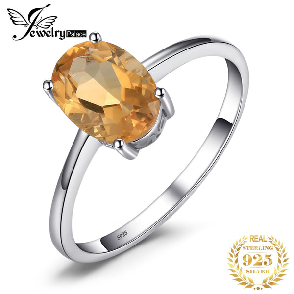 JewelryPalace Genuine Citrine Ring Solitaire 925 Sterling Silver Rings for Women Engagement Ring Silver 925 Gemstones Jewelry - Slabiti