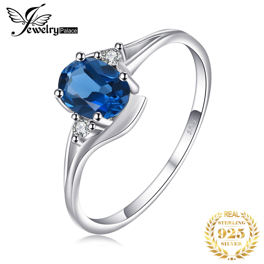 JewelryPalace Genuine London Blue Topaz Ring 925 Sterling Silver Rings for Women Engagement Ring Silver 925 Gemstones Jewelry - Slabiti