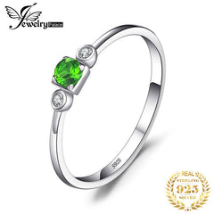 JewelryPalace Genuine White Topaz Diopside Ring 925 Sterling Silver Rings for Women Engagement Ring Silver 925 Gemstones Jewelry - Slabiti