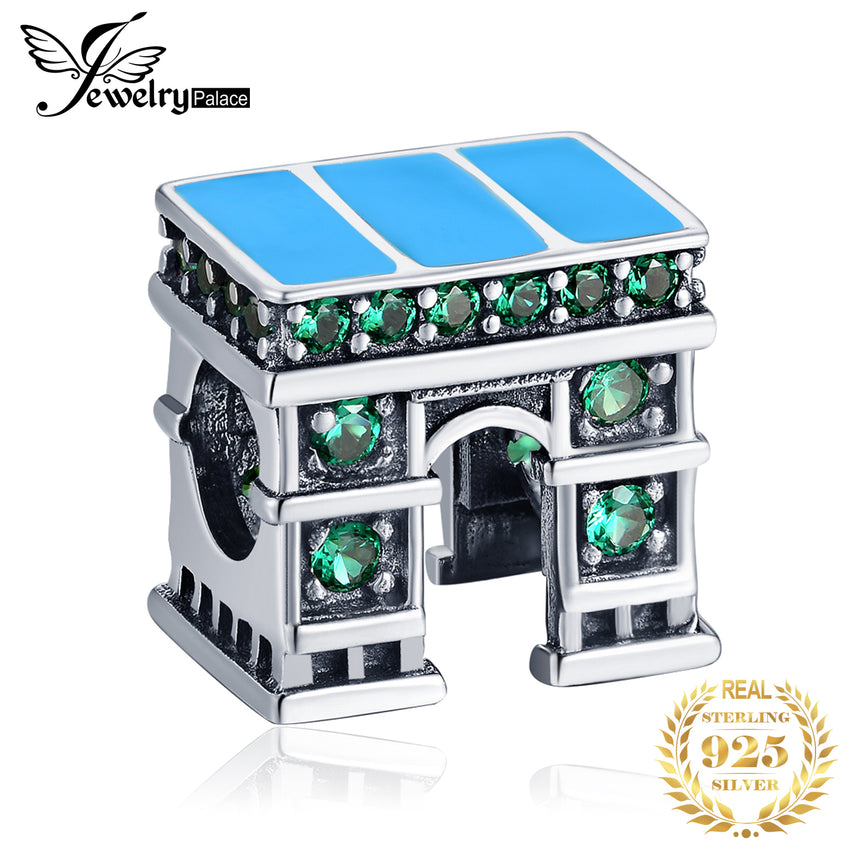 JewelryPalace Green Cubic Zirconia Classic European Architecture Triumphal Arch Charm Bead Fit Bracelet 925 Sterling Silver - Slabiti