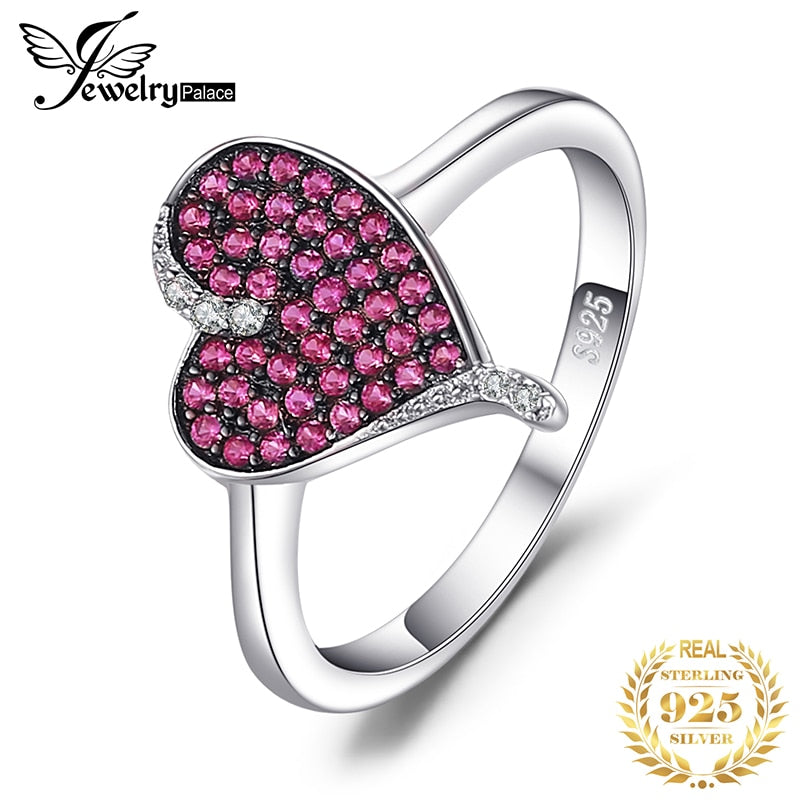 JewelryPalace Heart 0.3ct Created Ruby Pave Ring 925 Sterling Silver Heart Love Engagement Ring New Arrival Speical For Women - Slabiti