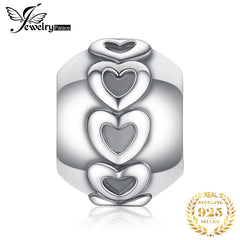 JewelryPalace Heart 925 Sterling Silver Beads Charms Silver 925 Original For Bracelet Silver 925 original Beads Jewelry Making - Slabiti
