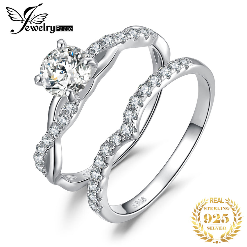 JewelryPalace Infinity Engagement Ring Set 925 Sterling Silver Rings for Women Wedding Rings Band Bridal Sets Silver 925 Jewelry - Slabiti