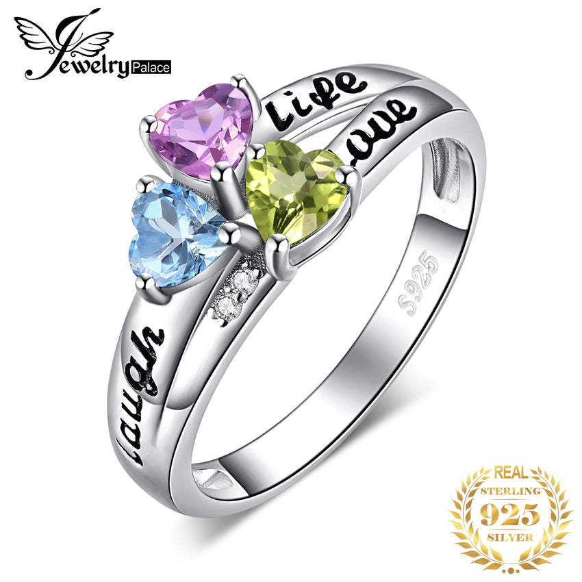 JewelryPalace Life Love Laugh Heart Genuine Peridot Amethyst Topaz Ring 925 Sterling Silver Rings for Women Promise Ring Jewelry - Slabiti